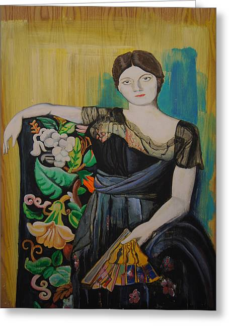 Picaso Greeting Cards - Lady with Fan Greeting Card by Jeremiah Dirt