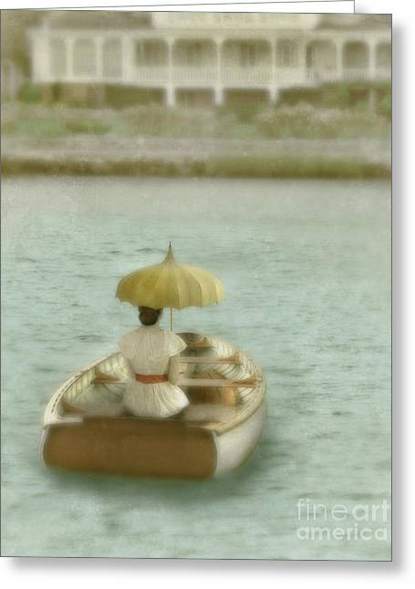 Edwardian Greeting Cards - Lady with Parasol in Boat Greeting Card by Jill Battaglia