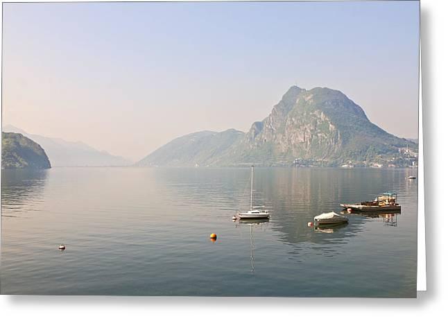 Haze Greeting Cards - Lago di Lugano Greeting Card by Joana Kruse