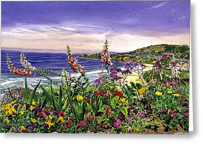 Southern Flowers Greeting Cards - Laguna Niguel Garden Greeting Card by David Lloyd Glover