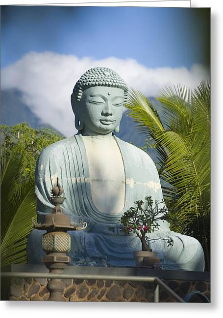 Lahaina Greeting Cards - Lahaina Buddha At Jodo  Greeting Card by Ron Dahlquist - Printscapes