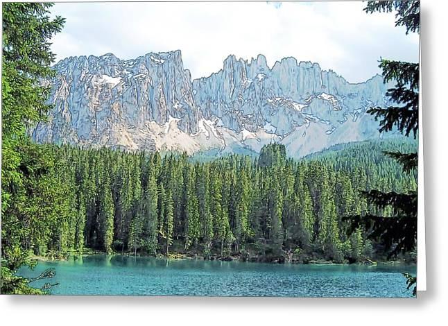 Lake Carezza Dolomites Italy Greeting Card by Joseph Hendrix