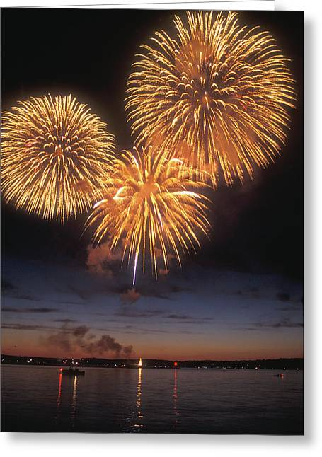 Champlain Greeting Cards - Lake Champlain Fireworks Greeting Card by John Burk