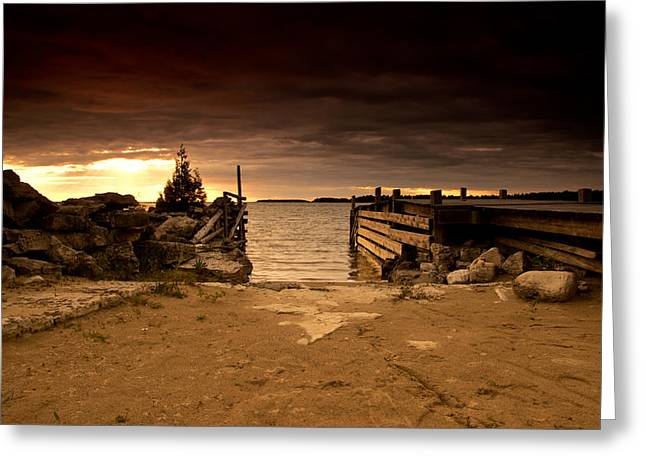 Lake Huron Dock Greeting Card by Cale Best