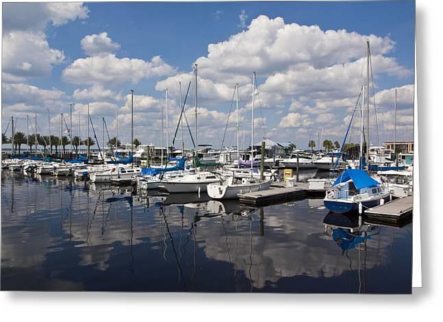Sailboats Docked Greeting Cards - Lake Monroe at the Port of Sanford Florida Greeting Card by Allan  Hughes