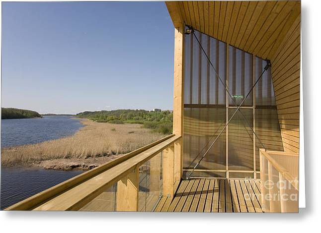 Wooden Platform Greeting Cards - Lakeside Building And Dock Greeting Card by Jaak Nilson