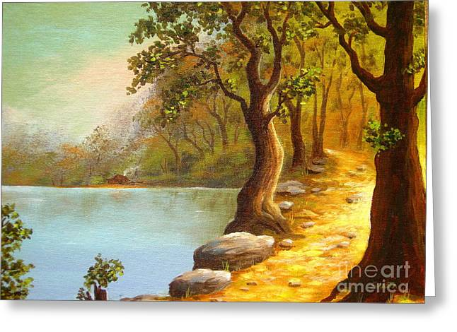 Shasta Eone Greeting Cards - Lakeside Path Greeting Card by Shasta Eone