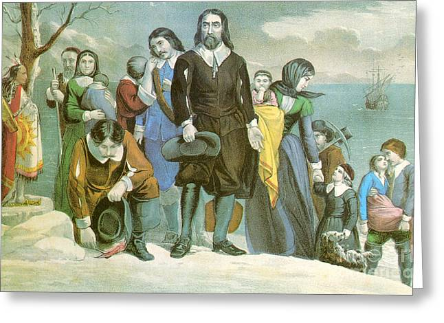 Plymouth Rock Greeting Cards - Landing Of The Pilgrims At Plymouth Greeting Card by Photo Researchers