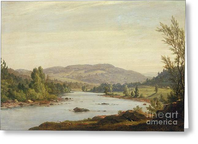 Upstate Paintings Greeting Cards - Landscape with River Greeting Card by Sanford Robinson Gifford