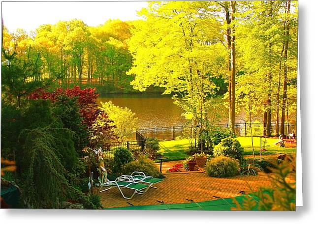 Docked Boat Greeting Cards - Landscaped Grounds Greeting Card by Aron Chervin