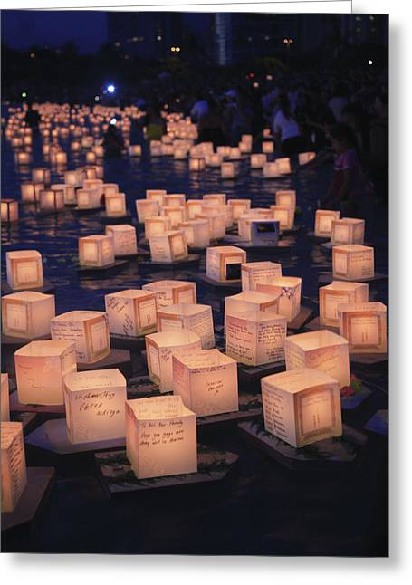 Rememberance Greeting Cards - Lantern ceremony Greeting Card by Brandon Tabiolo - Printscapes