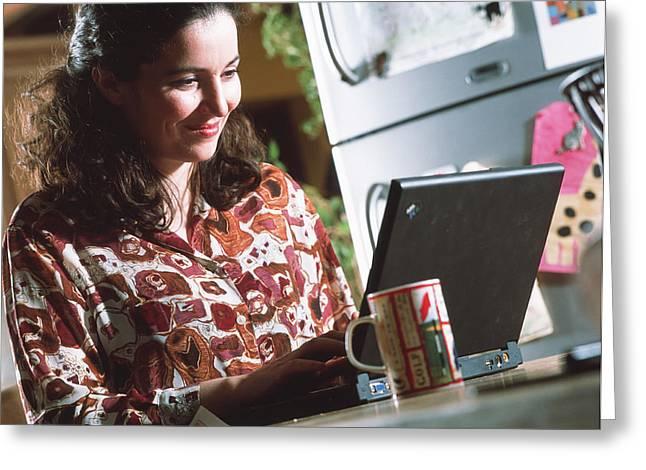 Computing Greeting Cards - Laptop Computing Greeting Card by Tek Image