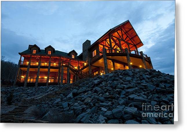 Arkansas Greeting Cards - Large Wooden Hotel at Night Greeting Card by Will and Deni McIntyre