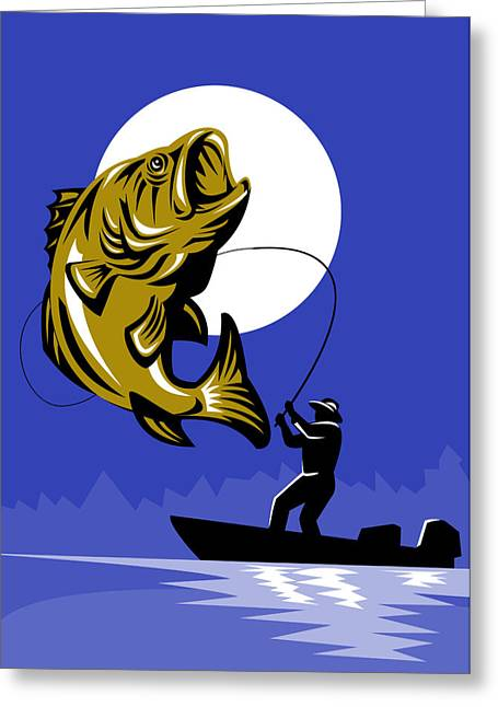 Bass Boat Greeting Cards - Largemouth Bass Fish and Fly Fisherman Greeting Card by Aloysius Patrimonio