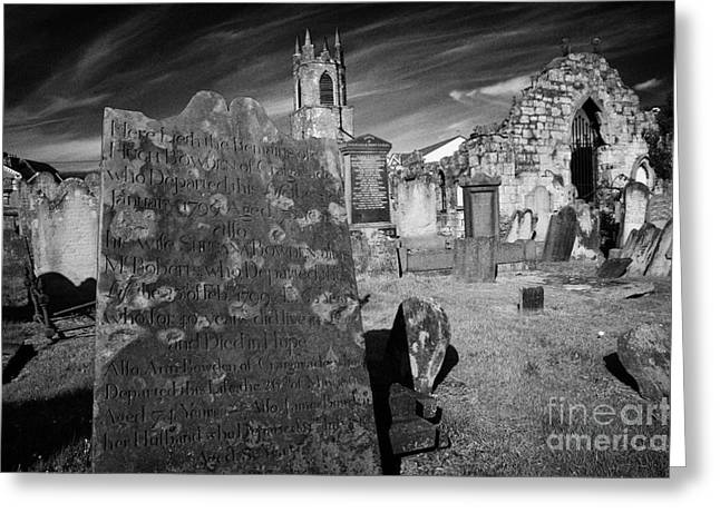 Headstones Greeting Cards - late 18th century headstone in graveyard at Holywood priory county down Greeting Card by Joe Fox