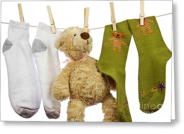Child Care Greeting Cards - Laundry Greeting Card by Blink Images