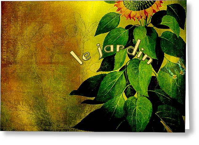Graphics Art Greeting Cards - Le Jardin Greeting Card by Bonnie Bruno