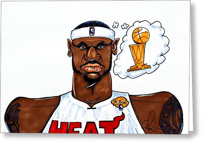 Nba Champion Greeting Cards - Lebron James Greeting Card by Dave Olsen