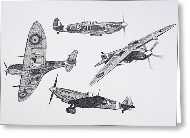 Spitfire Drawings Greeting Cards - Legend Greeting Card by Malc McHugh