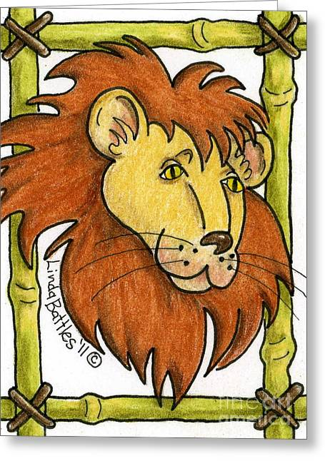 Leo Greeting Card by Linda Battles