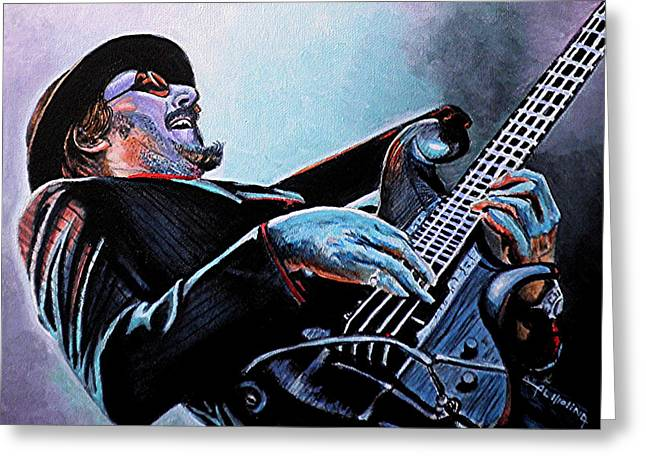 Player Greeting Cards - Les Claypool Greeting Card by Al  Molina