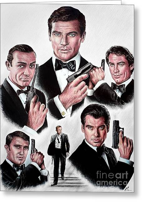 Movie Star Drawings Greeting Cards - Licence to kill Greeting Card by Andrew Read