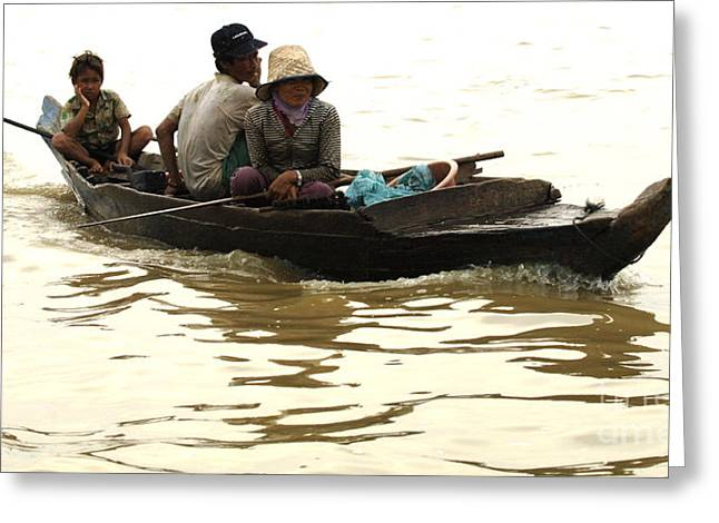 Traveling In Cambodia Greeting Cards - Life On Lake Tonle Sap 3 Greeting Card by Bob Christopher