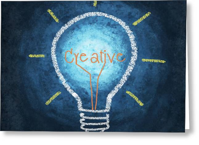 Creativity Greeting Cards - Light Bulb Design Greeting Card by Setsiri Silapasuwanchai