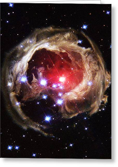 V838 Monocerotis Greeting Cards - Light Echoes From Exploding Star Greeting Card by Nasaesastscih.bond