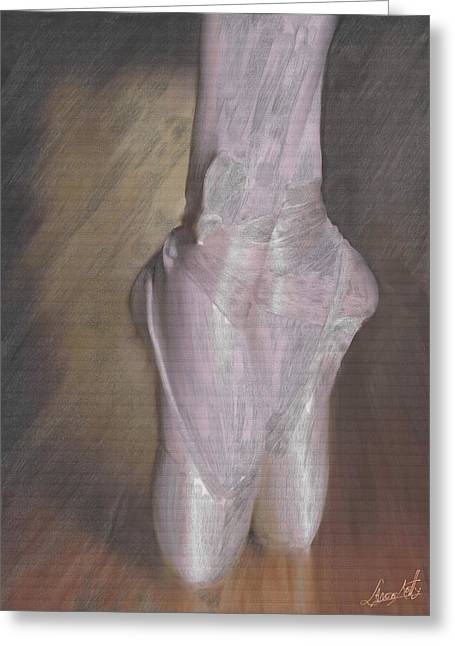 Ballerinas Glass Greeting Cards - Light On Her Feet Greeting Card by Lance  Kelly