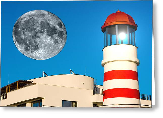 Sweating Digital Greeting Cards - Lighthouse and Moon Greeting Card by Odon Czintos