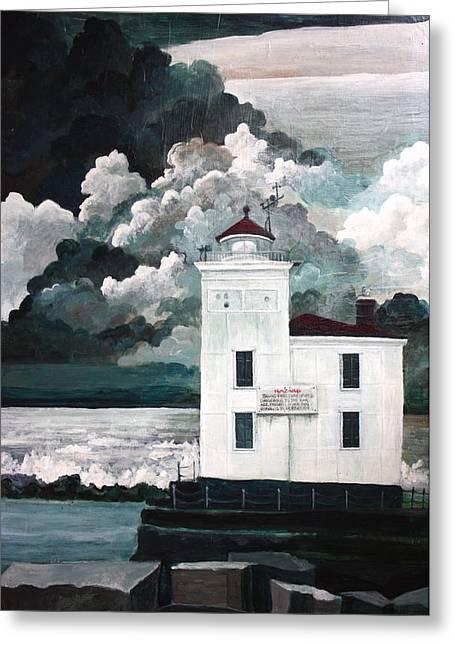 Mb Matthews Greeting Cards - Lighthouse at Mentor Headlands Greeting Card by MB Matthews