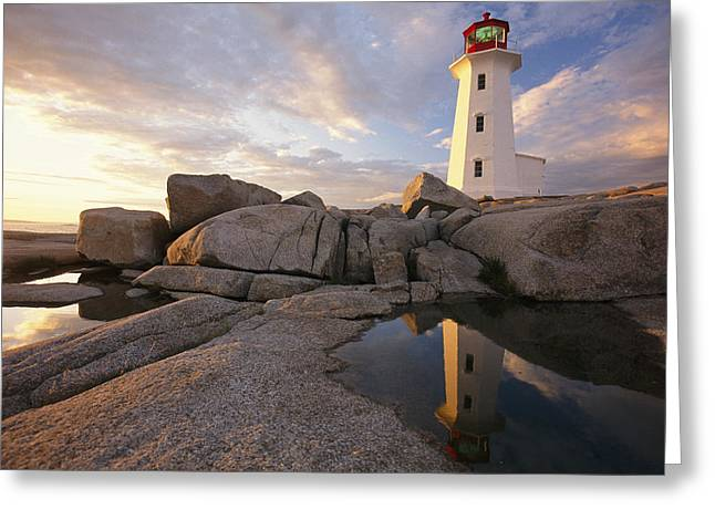 Scenes And Views Photographs Greeting Cards - Lighthouse At Sunset Greeting Card by Richard Nowitz