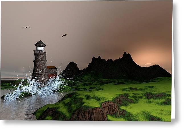 Seacape Digital Art Greeting Cards - Lighthouse landscape by John Junek Fine Art Prints and Posters Greeting Card by John Junek