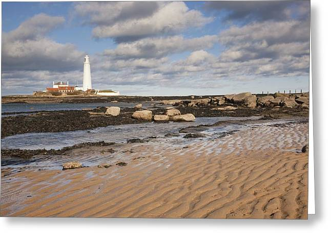 Ground Level Greeting Cards - Lighthouse, Northumberland, England Greeting Card by John Short