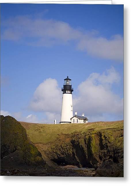 Oregon Lighthouse Image Greeting Cards - Lighthouse, Oregon, United States Of Greeting Card by Craig Tuttle