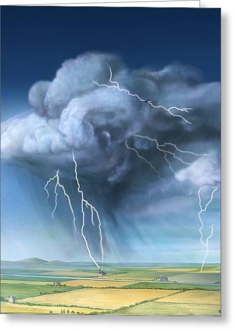 Cloud To Ground Greeting Cards - Lightning, Artwork Greeting Card by Gary Hincks