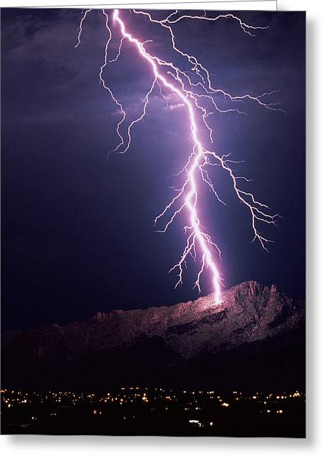 Electrical Storm Greeting Cards - Lightning Over Tucson Greeting Card by Keith Kent