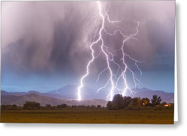 Lightning Striking Longs Peak Foothills 6 Greeting Card by James BO  Insogna