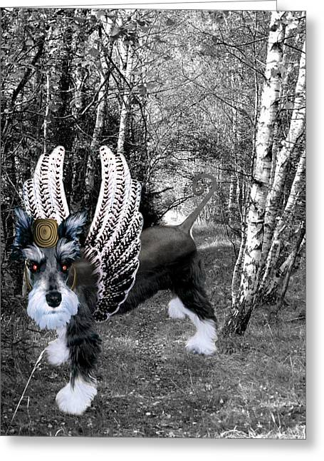 Schnauzer Greeting Cards - lil Angels Schnauzer of Oz Greeting Card by Tisha McGee