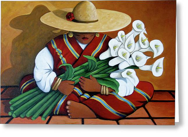 Contemporary Native American Greeting Cards - Lily Women Greeting Card by Lance Headlee