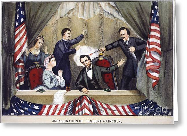 1865 Greeting Cards - Lincoln Assassination Greeting Card by Granger