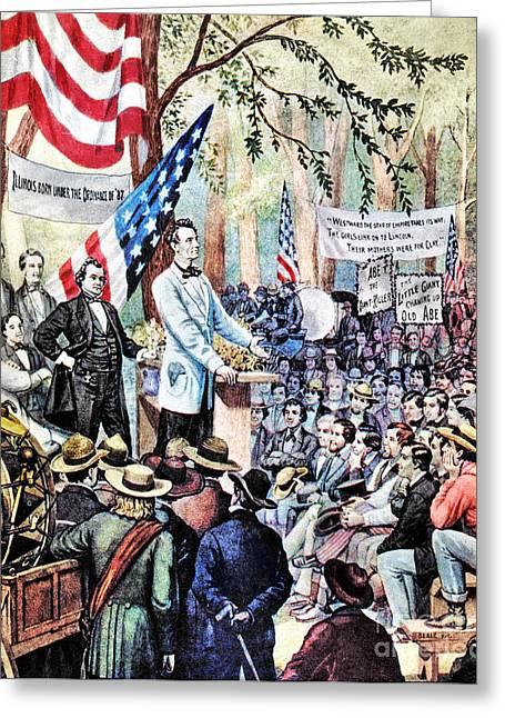 Lincoln-douglas Debate Greeting Card by Granger