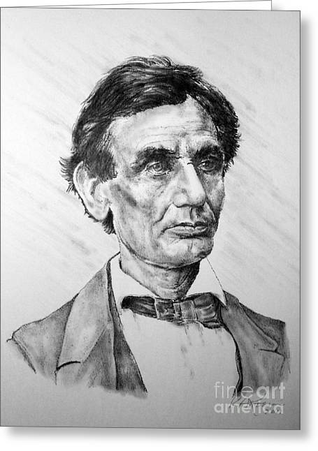 Proclamation Drawings Greeting Cards - Lincoln Greeting Card by Roy Kaelin