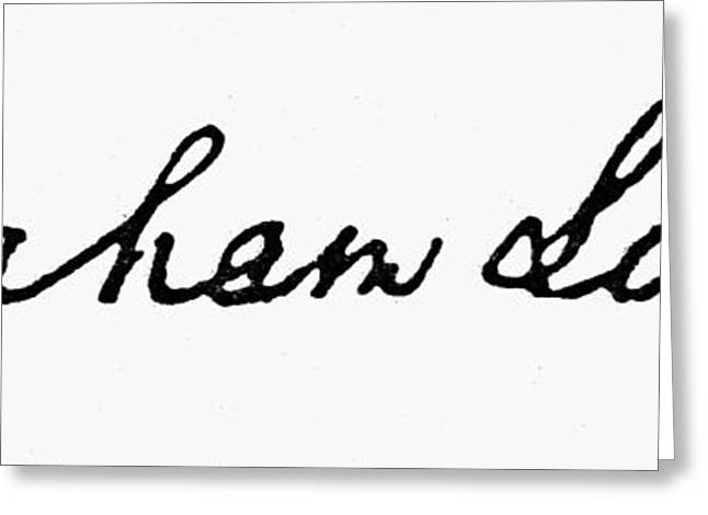 Autograph Greeting Cards - Lincolns Autograph Greeting Card by Granger