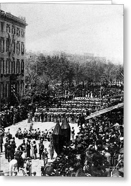Proclamation Greeting Cards - Lincolns Funeral Procession, 1865 Greeting Card by Photo Researchers