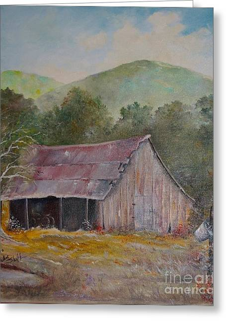 Run Down Paintings Greeting Cards - Lindas Barn Greeting Card by Vickie Shelton