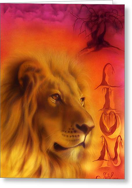 Animals Love Greeting Cards - Lion Greeting Card by Julia Lazaridi