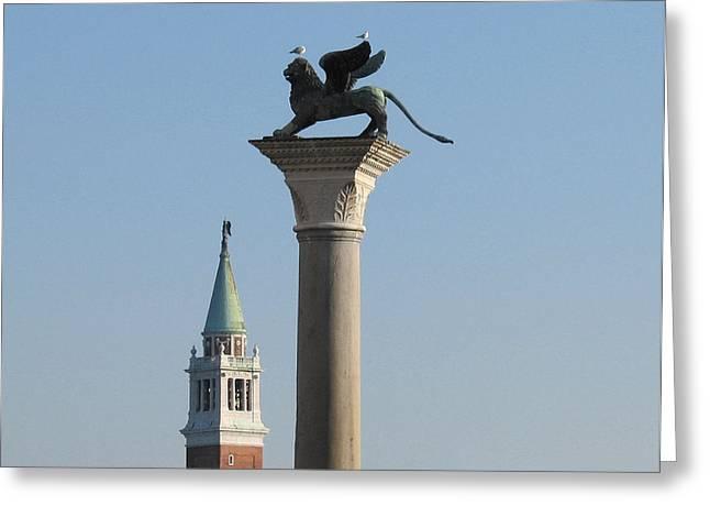Lion Of Venice Greeting Card by Bernard Jaubert