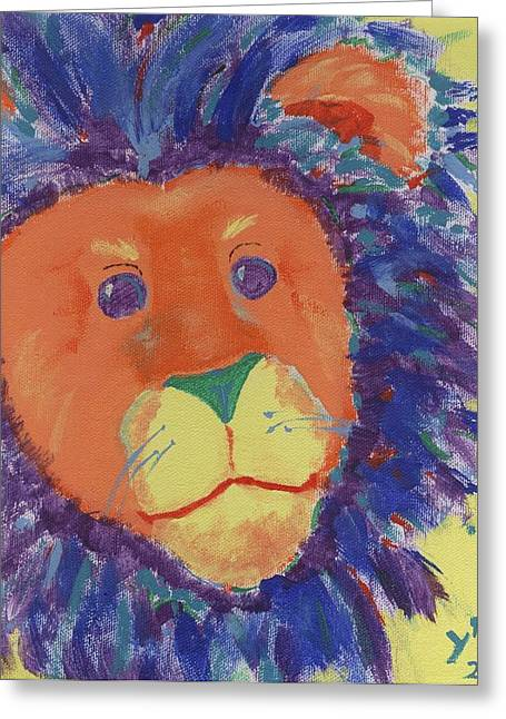 Pictures Of Cats Paintings Greeting Cards - Lion Greeting Card by Yshua The Painter